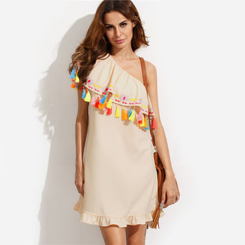 Multicolor Embroidered Tassel One Shoulder Dresses
