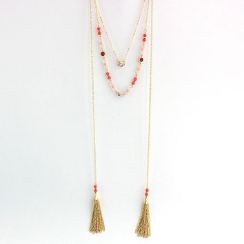 Antique Double Layer Stone Crystal Beads Gold Chain Tassel Necklaces