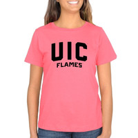 UIC Flames Ladies Pop of Pink Classic Fit T-Shirt - Pink