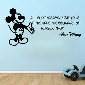 Mickey Mouse Wall Decals Quote All Our Dreams Vinyl Sticker Nursery Boy Art SM85