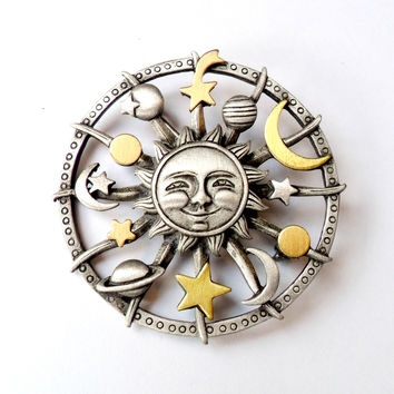 Vintage Celestial Brooch JJ Jonette Sun Moon Stars Planets Astronomy Solar Eclipse Pewter Gold Tone Broach Pin