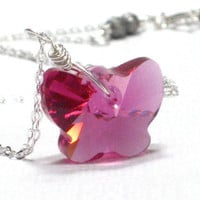 Pink Butterfly Pendant Fuchsia Swarovski Butterfly by CCARIA
