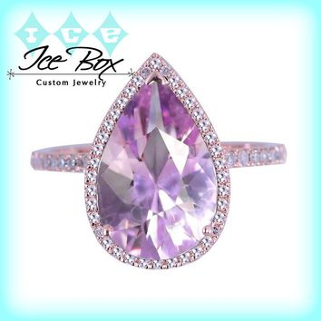 Lavender Amethyst Engagement Ring 3.2ct, 8 x 12mm Pear Shaped in a 14k Rose Gold Diamond setting