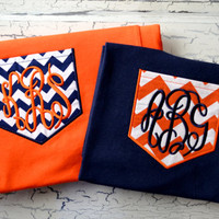 Auburn Tigers Chevron Print Monogram Pocket Tee- 3 different options!