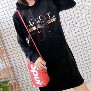 Gucci Women Casual Fashion Velvet Graffiti Letter Long Sleeve Medium Long Section Hooded Sweater Dress