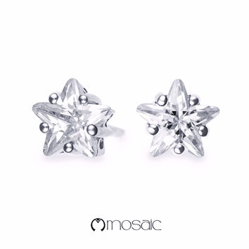 Fine Silver Brilliant Star Stud Earrings