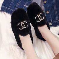 Chanel Women Fashion Cashmere Flats Shoes