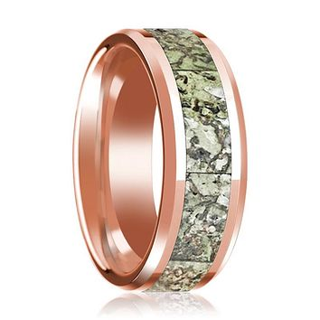 ECHO 14K Rose Gold Polished Wedding Band for Men with Green Dinosaur Bone Inlay and Bevels - 8MM