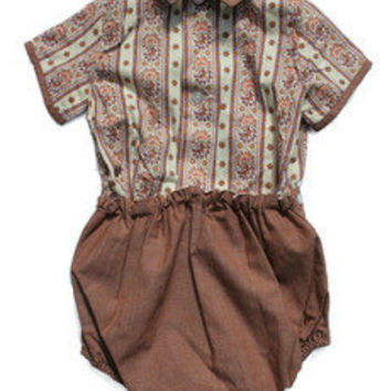 Vintage 2 Piece Set, Heather Brown Shorts and Patterned Blouse | Rowdy Roddy Vintage