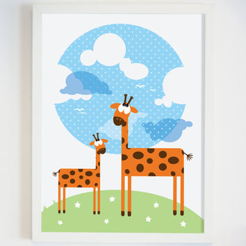 Giraffe Picture - Giraffe Wall Art - Small Child Wall Art - Baby Nursery Decor - Safari Animal Art for Wall - Zoo Animal Picture for Nursery