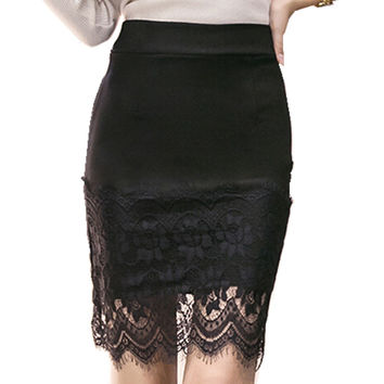 The new spring and summer lace stitching step skirt sexy slim package hip skirt solid body skirt occupation