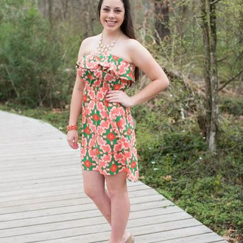 Medallion Print Strapless Dress, Coral and Green