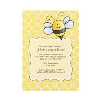 Birthday Invitation | Yellow Bumble Bee from Zazzle.com