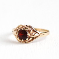 Vintage 10k Rosy Yellow Gold Garnet Ring - Size 4 Red Faceted Gemstone 1940s Fine Flower Leaf Jewelry BDA Budlong Docherty Armstrong