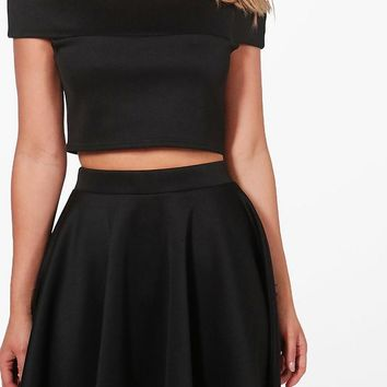 Tasmin Off Shoulder Crop & Skirt Co-ord | Boohoo