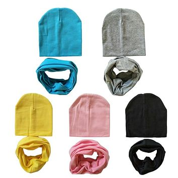 1 Set Cotton Baby Hat Scarf Solid Color Children Caps Scarves Autumn Winter Kids Boys Girls O Ring Collar Beanie
