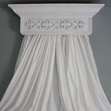 Bed Crown Canopy, Crib Crown, Teester, Cornice, White with Ornate Applique, Bedroom and Nursery Decor, Shabby Chic