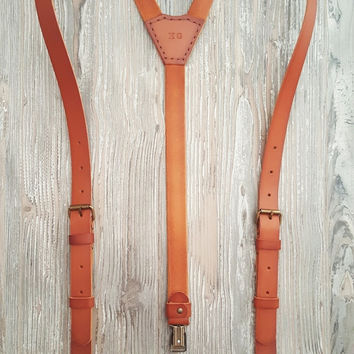 Leather Suspenders · Wedding Suspenders · Men's & Women's Suspenders - Sevilla Custom Brown Vintage 1''