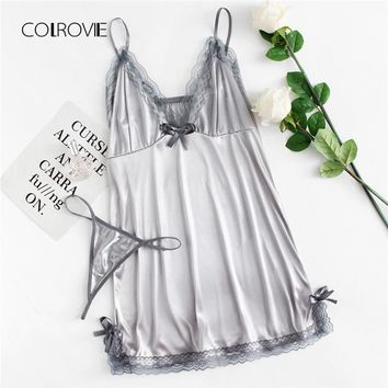 COLROVIE Lace Trim Satin Nightgown 2018 New Grey Summer V-neck Sleeveless Pajama Set Contrast Lace Sexy Bow Tie Women Sleepwear