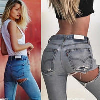 Ripped Holes Summer Sexy Denim Jeans [10384195724]