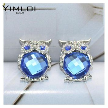 ac spbest New Design Crystal Women Charms Owl Stud Earrings Cute Colors Fashion Jewelry White Silver Color Trendy For Wedding E298