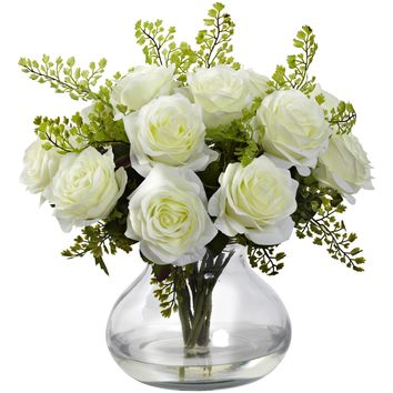 Artificial Flowers -White Rose And Maiden Hair Arrangement With Vase No2 Silk