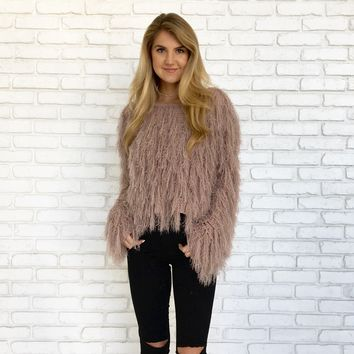 Soft Shag Pull Over Sweater in Mauve