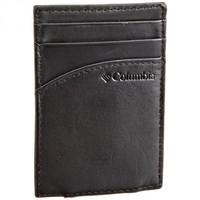 Columbia Black Leather Pocket Card Case Money Clip Wallet