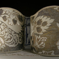 Pair of Clip-On Shield Shades Rubelli Serse Lampas Fabric Mini Lampshade - Handmade in Italy