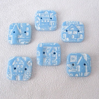 Light blue square buttons pattern City polymer clay jewelry children women knitwear sewing baby products  summer clothes set of 6