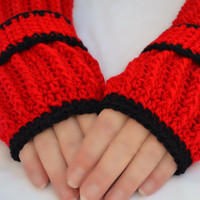 Dark passion crochet arm warmers, ribbed fingerless gloves with button wrist strap in red and black