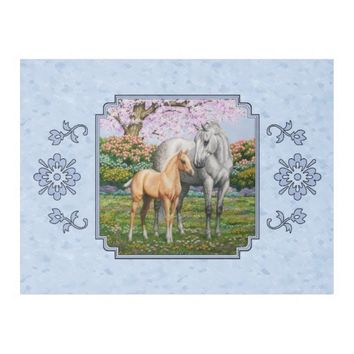 Quarter Horse Mare and Foal Blue Fleece Blanket