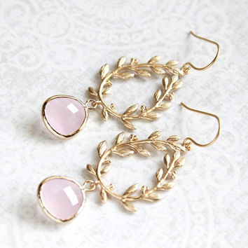 Pale Pink Glass Earrings Bridesmaids Gift Gold Bridal Jewelry Leaf Branch Dangle Earrings Pastel Pink Drop Laurel Wreath Chandelier Earring