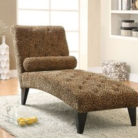 A.M.B. Furniture & Design :: Living room furniture :: Sofas and Sets :: Chaise loungers :: Leopard print velour fabric upholstered tufted chaise lounger with black finish wood accents