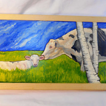 Framed Holstein Cow Oil Painting on Maple, Oil Farm Scene, Cow Oil Painting, Mother Cow and calf oil Painting, Birch Trees Painting