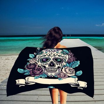 XINLANISNOW Summer Beach Towels Skull Printing Cotton Beach Towel Rectangle Sport Towel Beach Bikini Shawl Beach Mat 150*100cm