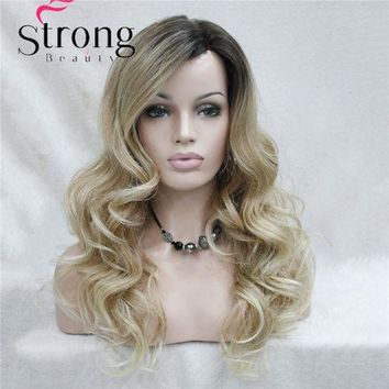 LMF78W Lace Long Curly Brown BLonde Ombre Monofilament Side Part Heat ok Ombre Dark Brown Blonde Full Synthetic Wig