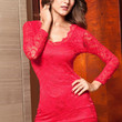 Red Long Sleeves V-Neckline Mini Lace Dress