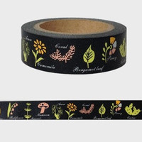 Black flower Washi Tape -- Japanese Washi Tape -Deco tape-- 10M
