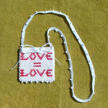 Love = Love Beaded Totem Pouch Medicine Talisman Stash Bag, Love Is Love LGBT Amulet, Beadwoven Seed Bead Art, Bohemian Hippie Fashion fwb