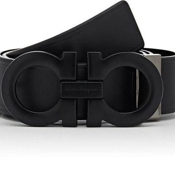 NEW!! FERRAGAMO $460 Double Gancini Leather Black Belt Sz 36 Made In Italy
