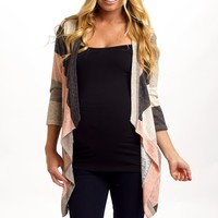 Ivory Multi-Color Striped Knit Maternity Cardigan