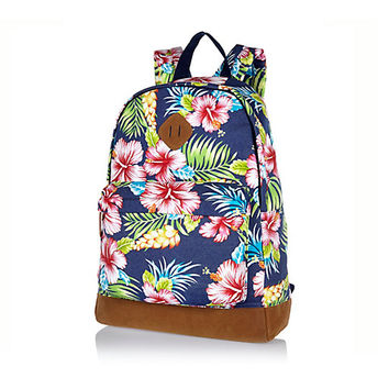 River Island MensBlue Hawaiian print backpack