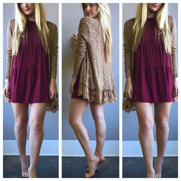 A Babydoll Tiered Dress in Wine