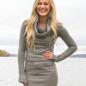 Cowl Neck Fitted Sweater - Gray