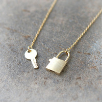 Key and Lock Necklace in gold by laonato on Etsy