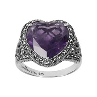 Lavish by TJM Sterling Silver Amethyst Heart Ring — Made with Swarovski Marcasite (Purple)