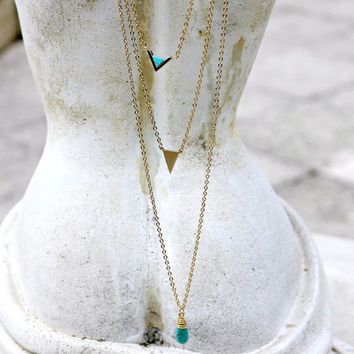 Turquoise Layering Necklace Set of Three, Gold Plated, Bohemian, Delicate, Minimalist