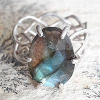Celtic Sterling Silver and Labradorite Ring - Four Strand Braid Ring - Braided Silver Ring - Statement Ring - Gift for Her - Gifts Under 150