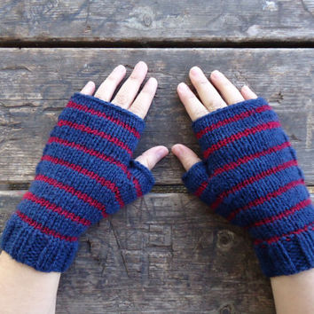 Hand knit fingerless gloves, striped knitted gloves,women's hand knit mittens, blue red knit gloves, knit wrist warmers, knit hand warmers
